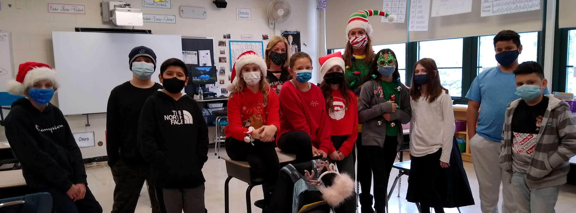 Group of Students dressed in festive holiday gear