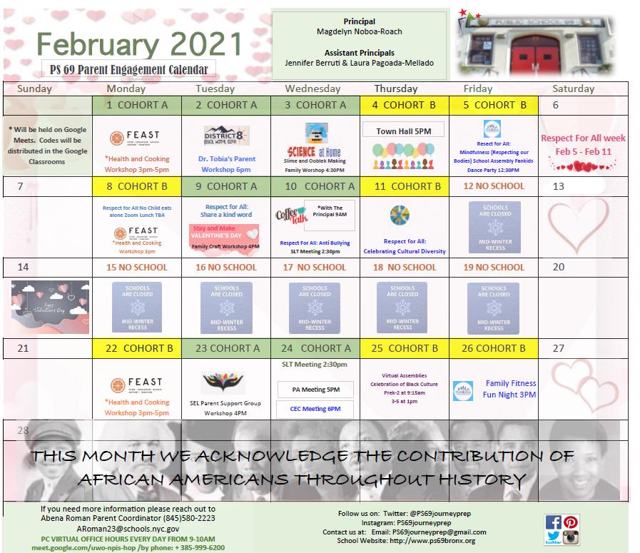 February Calendar Image. Call 718-378-4726 for list of events.