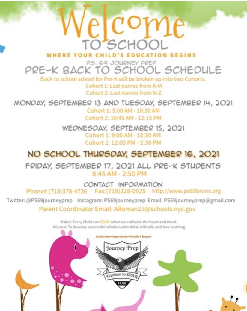 This is a picture of the flyer sent out about the Prek Back to School schedule.