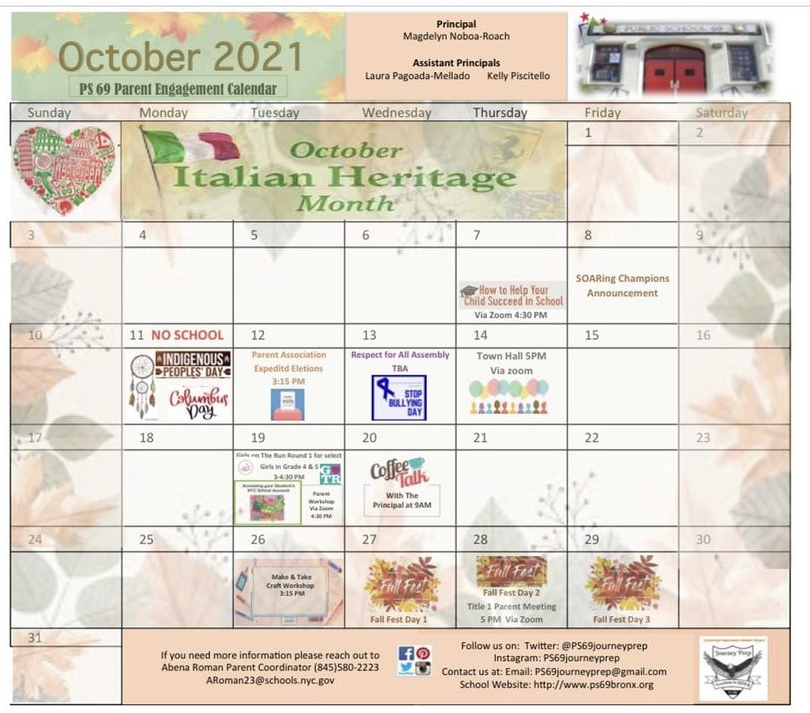 This is a picture of the October Events Calendar. Go to https://ps-69-journey-prep-08x069.echalksites.com/calendar