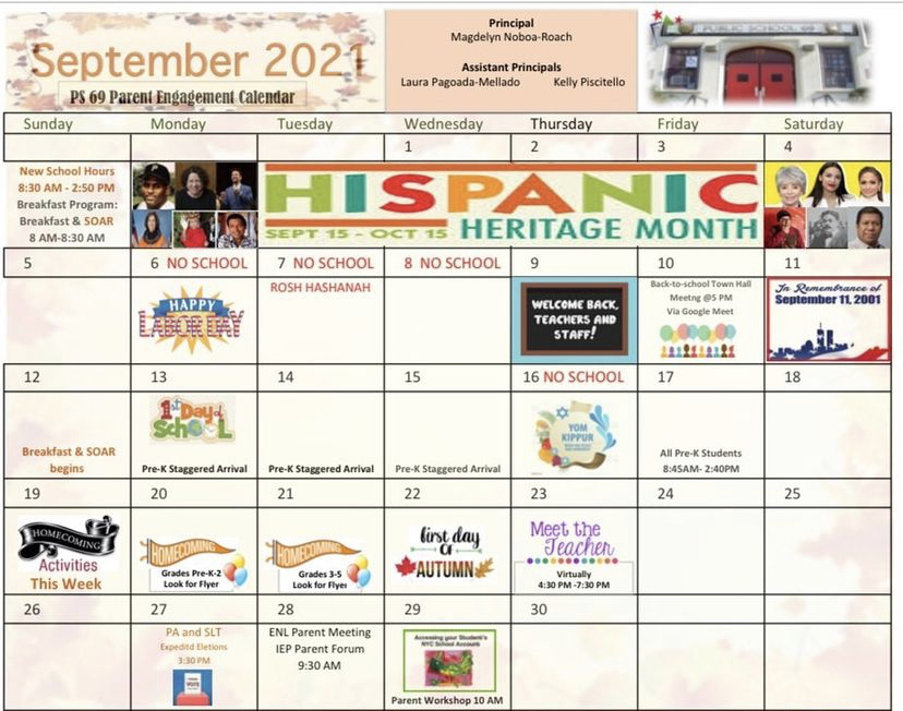 This is a picture of the September Events Calendar. Go to https://ps-69-journey-prep-08x069.echalksites.com/calendar  for more information