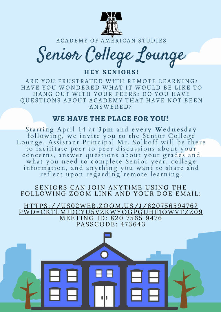 flyer advertising the weekly virtual college lounge for seniors on Wednesdays