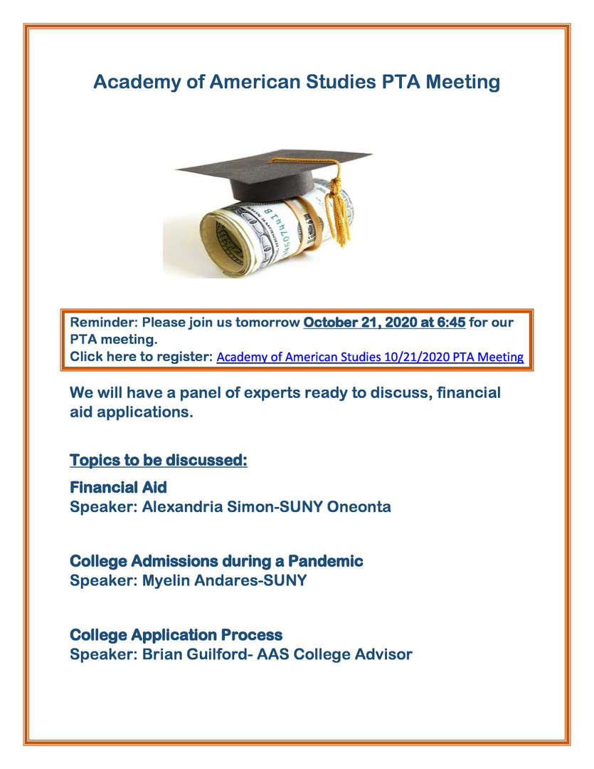 This is picture of an informative poster of a college night meeting on October 21st.