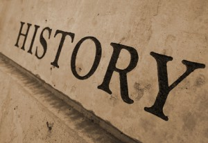 The word HISTORY Is inscribed on a wall