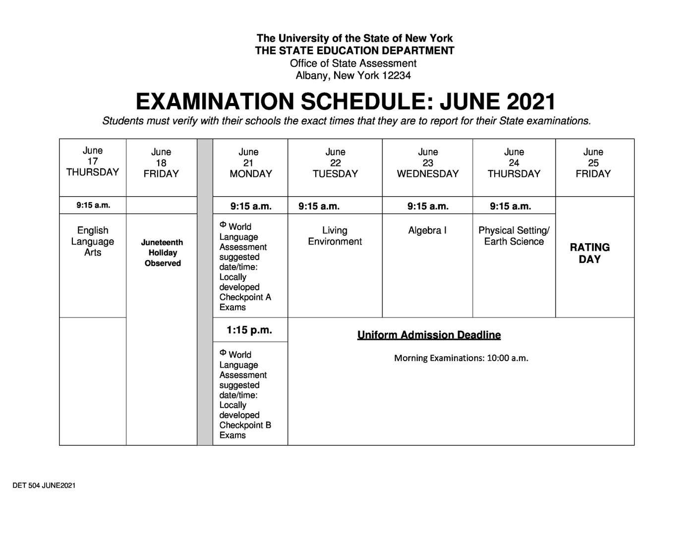 June 2021 Regents Exam Schedule