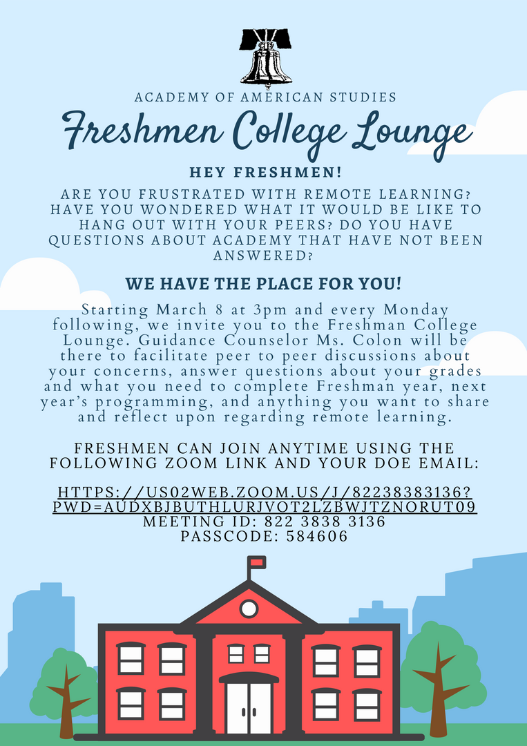 advertisement for Freshmen College Lounge