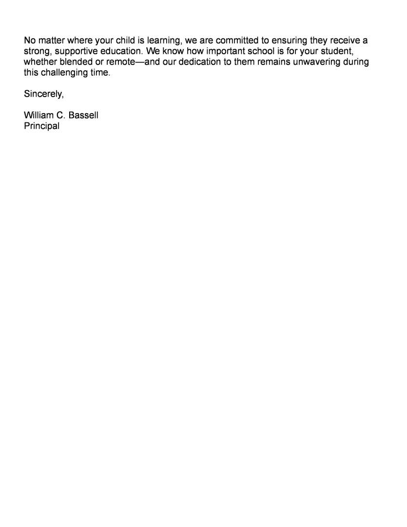 page 3 of Principal Bassell's March 22 Blended Learning Returns Letter Home