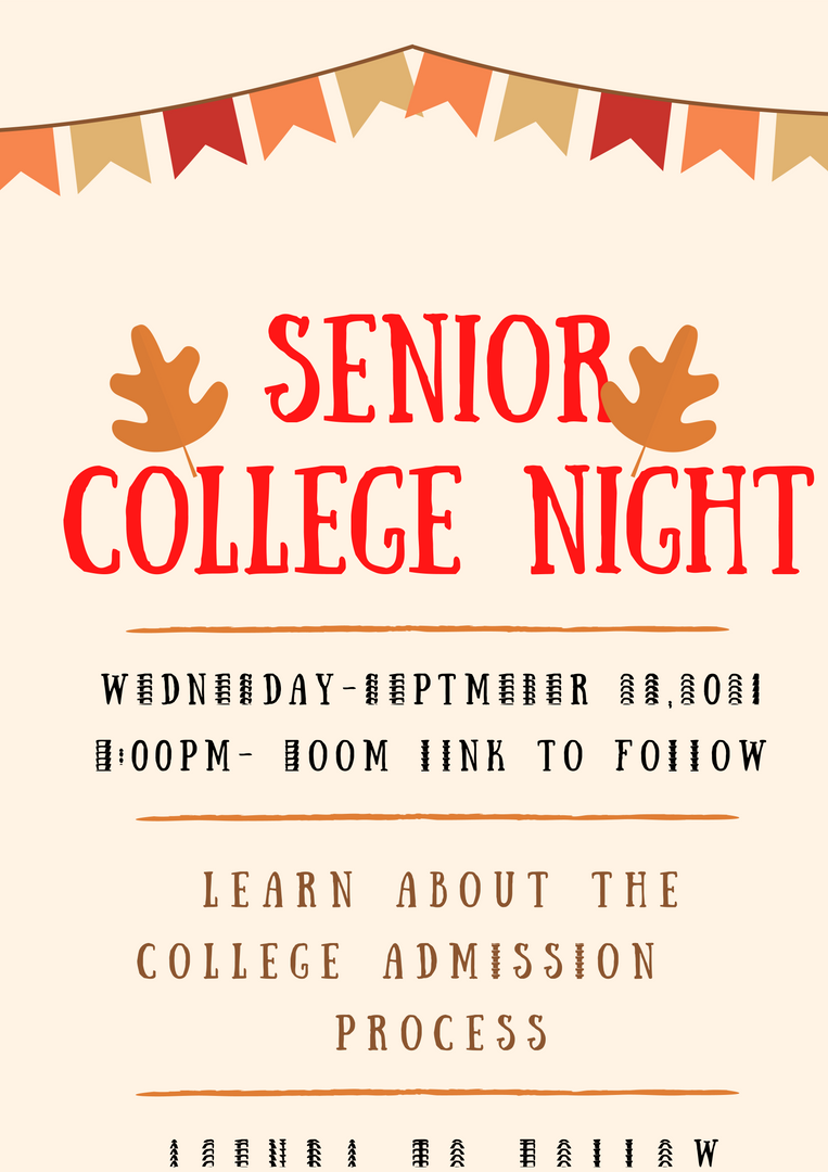 PTA FLYER FOR COLLEGE NIGHT ZOOM EVENT ON SEPTEMBER 29
