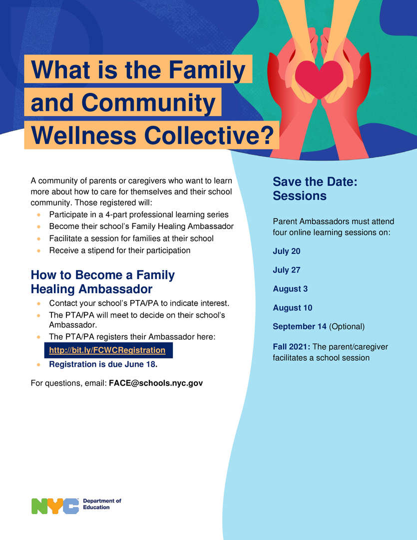 Family and Community Wellness Collective - (Healing Ambassador Program) Flyer in English