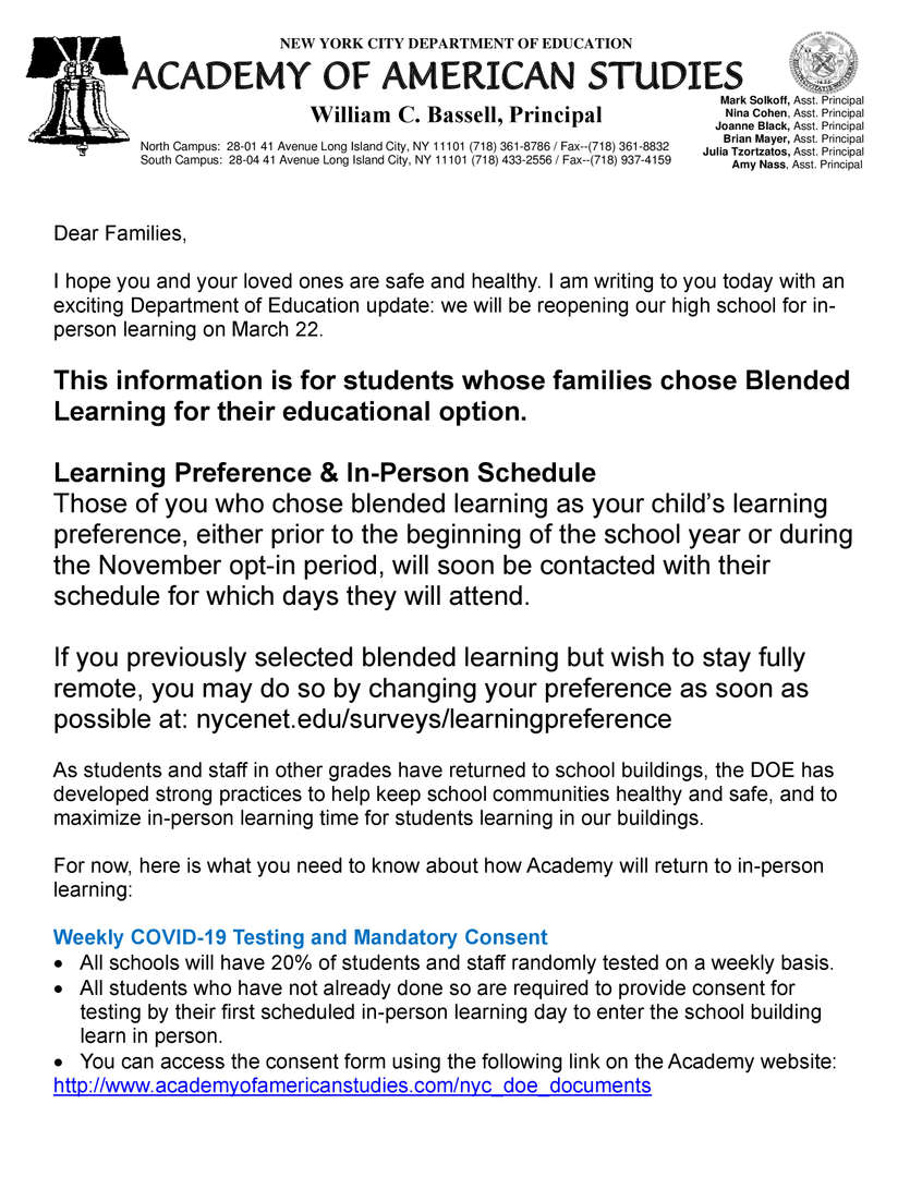 page 1 of Principal Bassell's March 22 Blended Learning Returns Letter Home