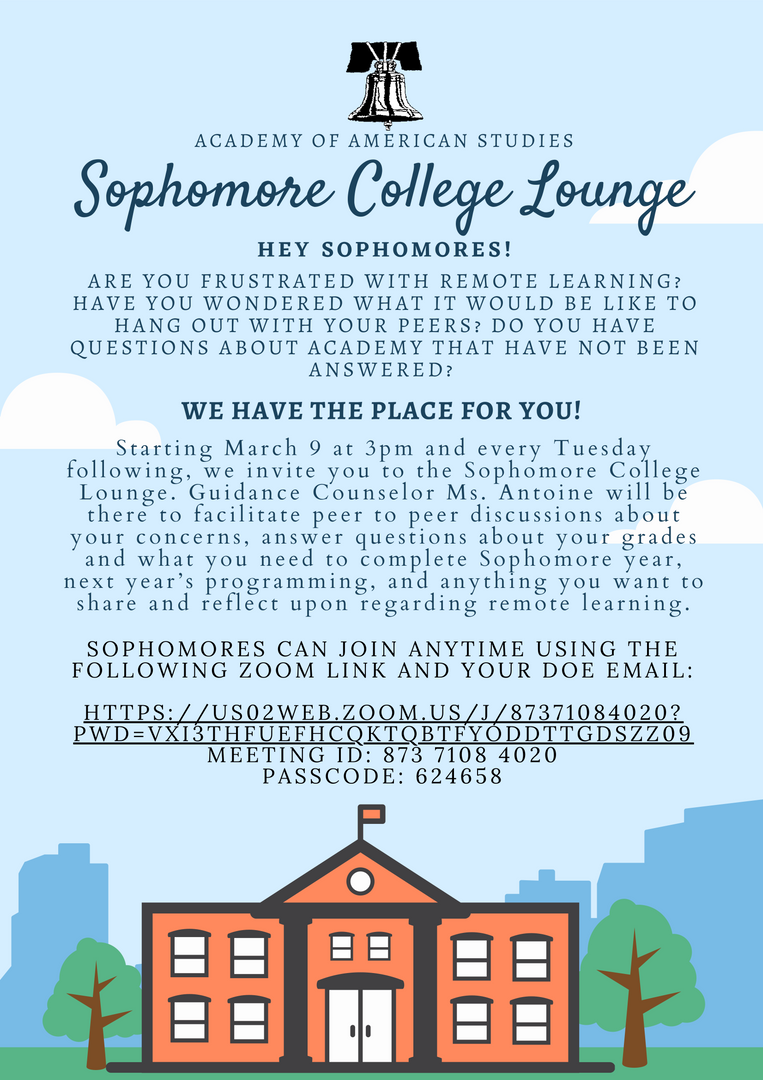 Advertisement for Sophomore College Lounge