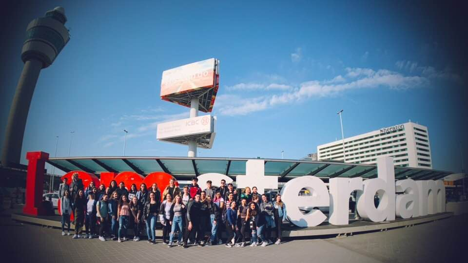Group photo taken in Amsterdam during Academy's international trip to Europe in 2019