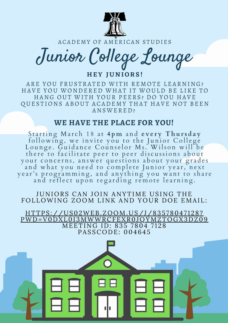 Advertisement for the Virtual Junior College Lounge