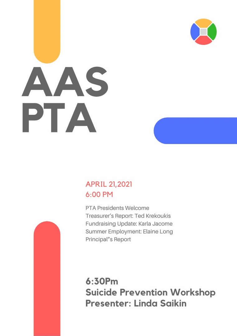 PTA Flyer advertising the April 21st PTA at 6:00pm on Zoom
