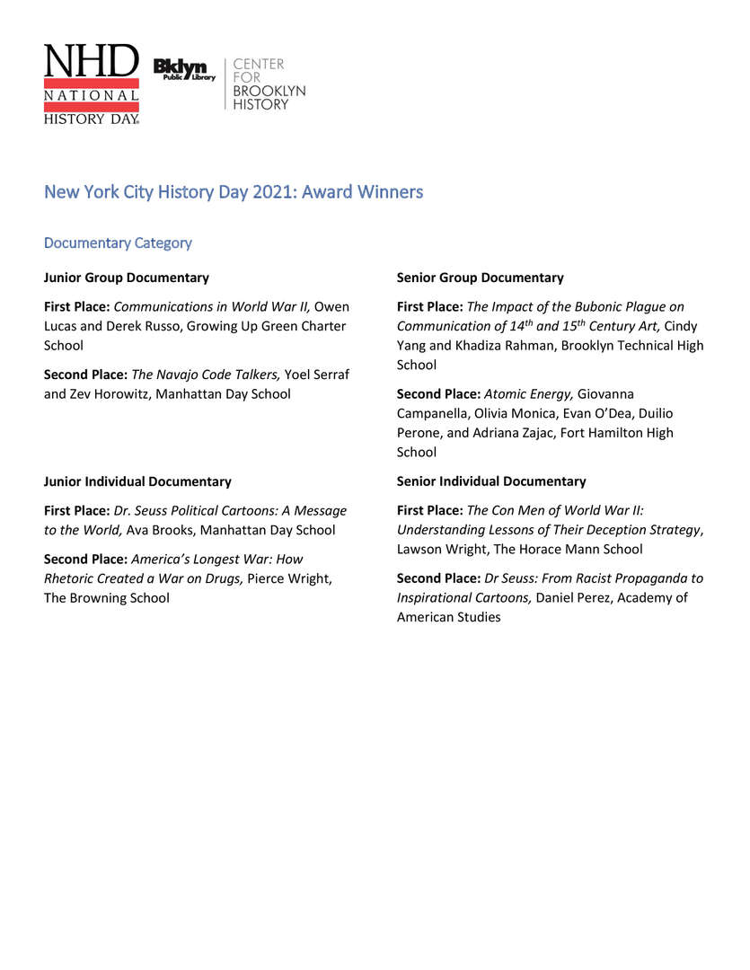 NYCNHD 2021 RESULTS pt 1