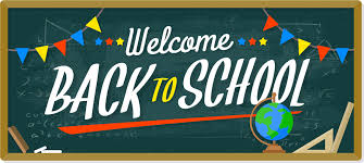 "Chalkboard with ""Welcome Back to School"" written on it. There is a globe next to the chalkboard."