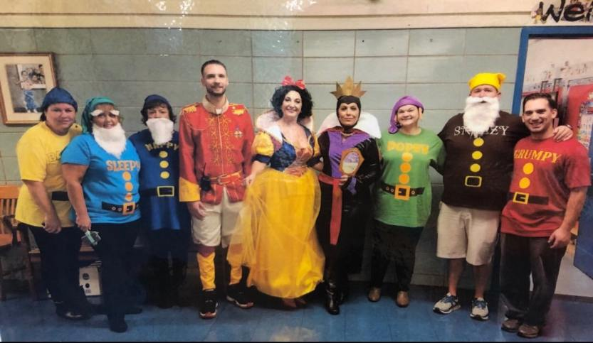 Teachers and staff dresses as Disney characters for Halloween