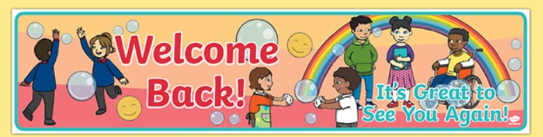 cartoon welcome back to school with children and a rainbow