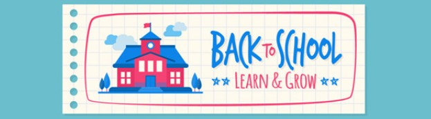 cartoon schoolhouse that says back to school to learn and grow