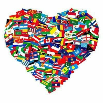 Heart made up of flags from all over the world.