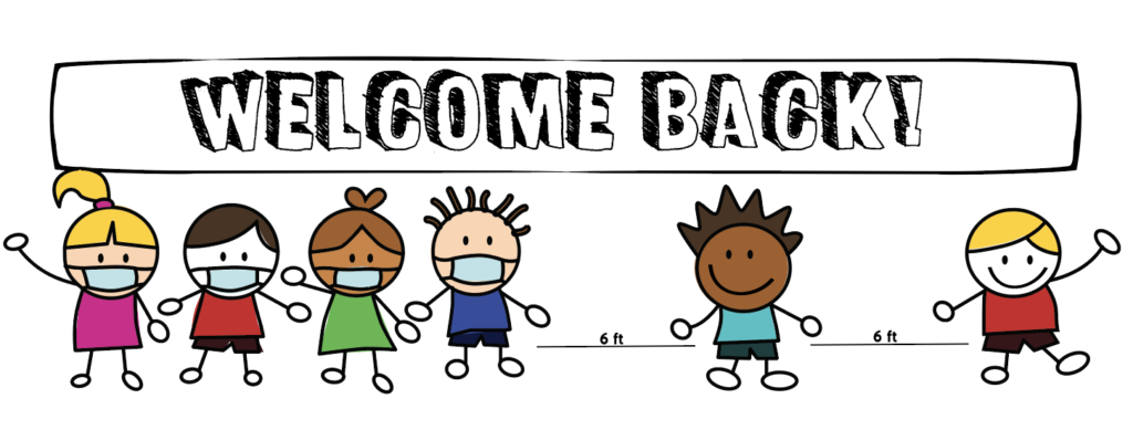 Welcome back sign showing kids with masks and a distance of 2 meters or 6 feet in between students