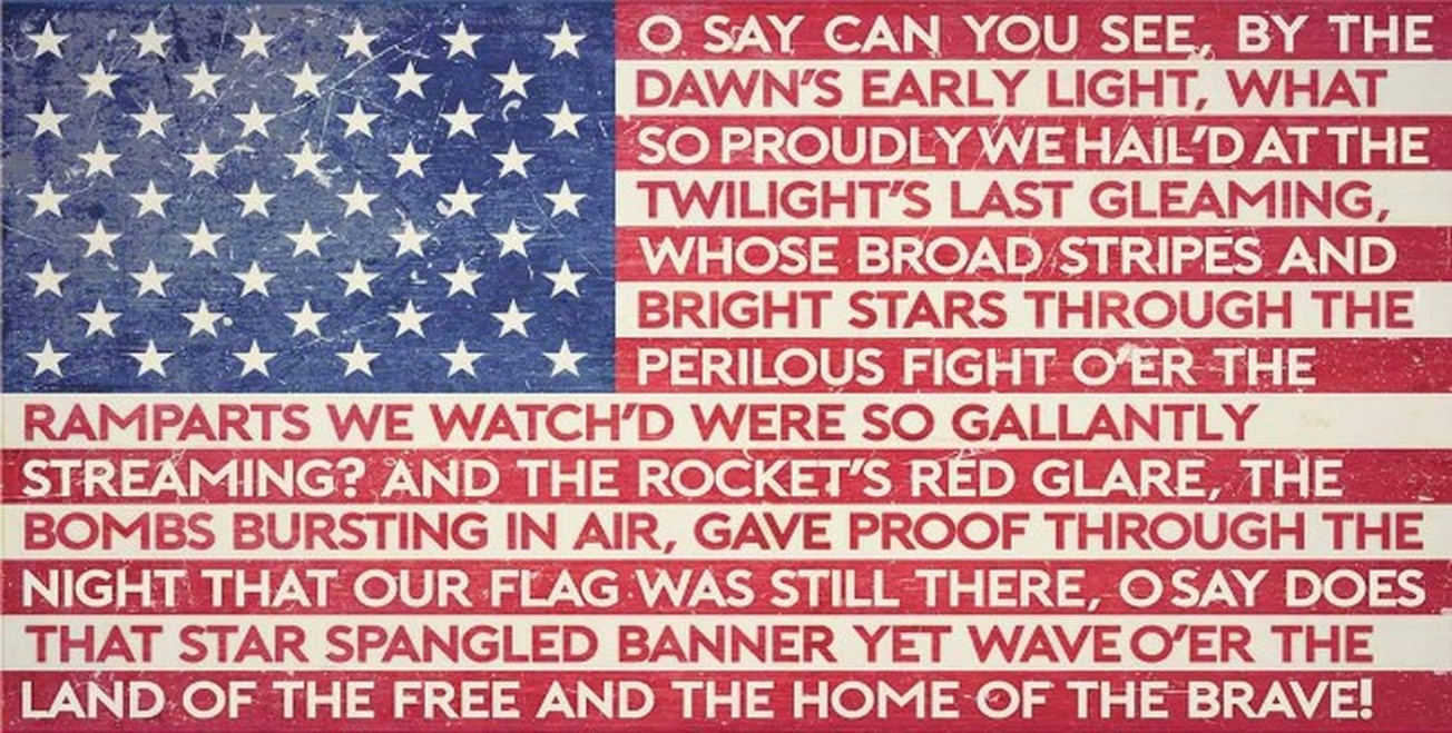 American flag with the National Anthem written on it.