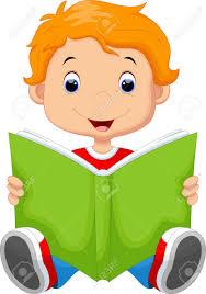A little boy reading a book.