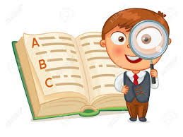 A cartoon character with a magnifying glass standing next to an opened book.