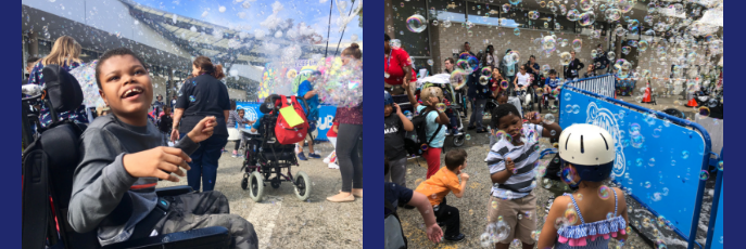 Two photos of children and staff outside playing with bubbles in the air.