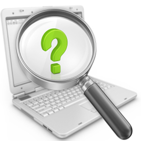 A magnifying glass over a laptop that reveals a question mark.