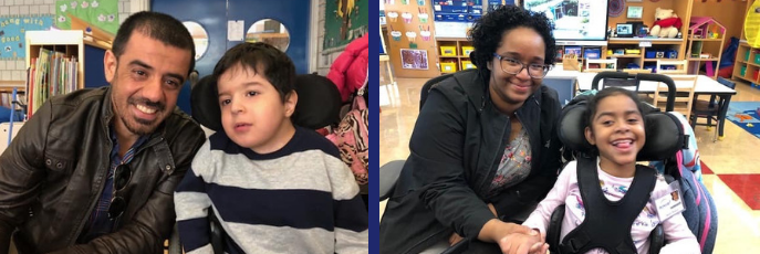 Two side by side photos of student and parent smiling in classroom.