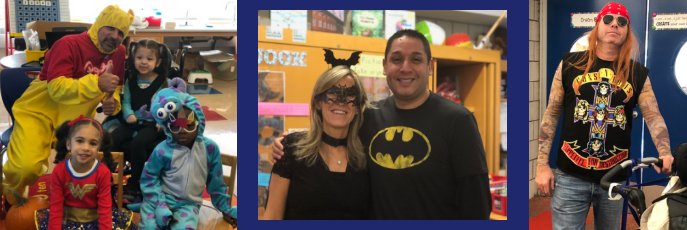 Three side by side photos of students and teachers dressed up in costumes.