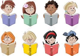 Rows of children reading different books.
