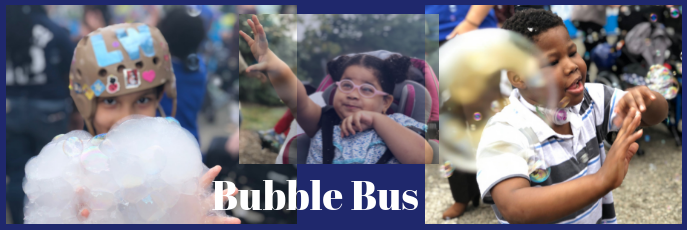 Bubble Bus - three photos of children enjoying the bubbles, one holding a big bubble, one reaching for bubbles, and one smiling at his surroundings.