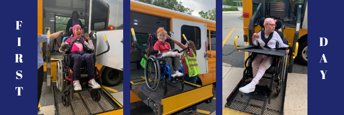 First Day - three side by side photos of students in wheelchairs getting off the bus lifts