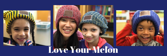 Love Your Melon - Three side by side photos of smiling students wearing donated hats.