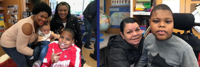 Two side by side photos of students and families smiling in classroom.