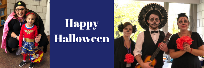 Happy Halloween - One photo of student and teacher dressed as superheroes and one photo of three teachers dressed in Day of the Dead costumes.