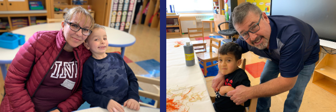 Two side by side photos of mother and son and a father and son smiling at table in classroom