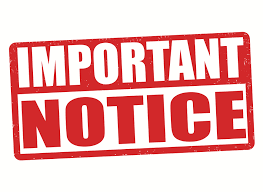 Important notice in red lettering
