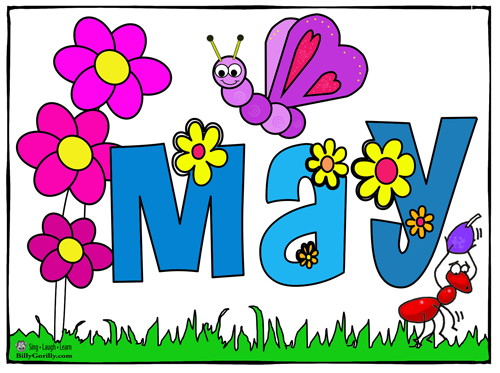 The word May in colorful letters with flowers and insects