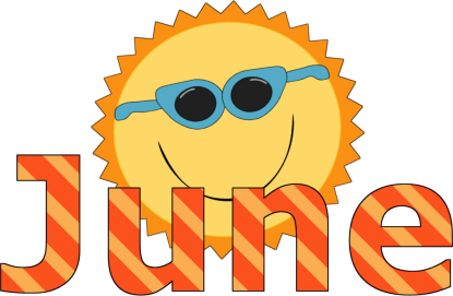 The word June with a picture of a sun wearing sunglasses