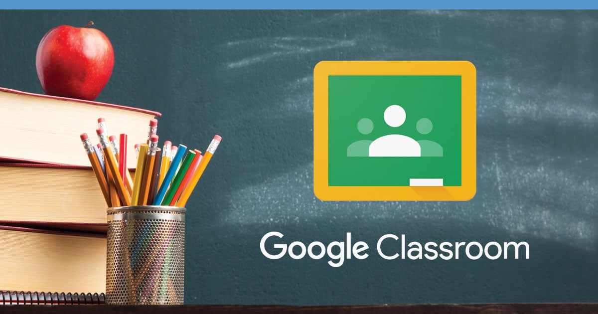 Picture of books and apple with Google Classroom logo