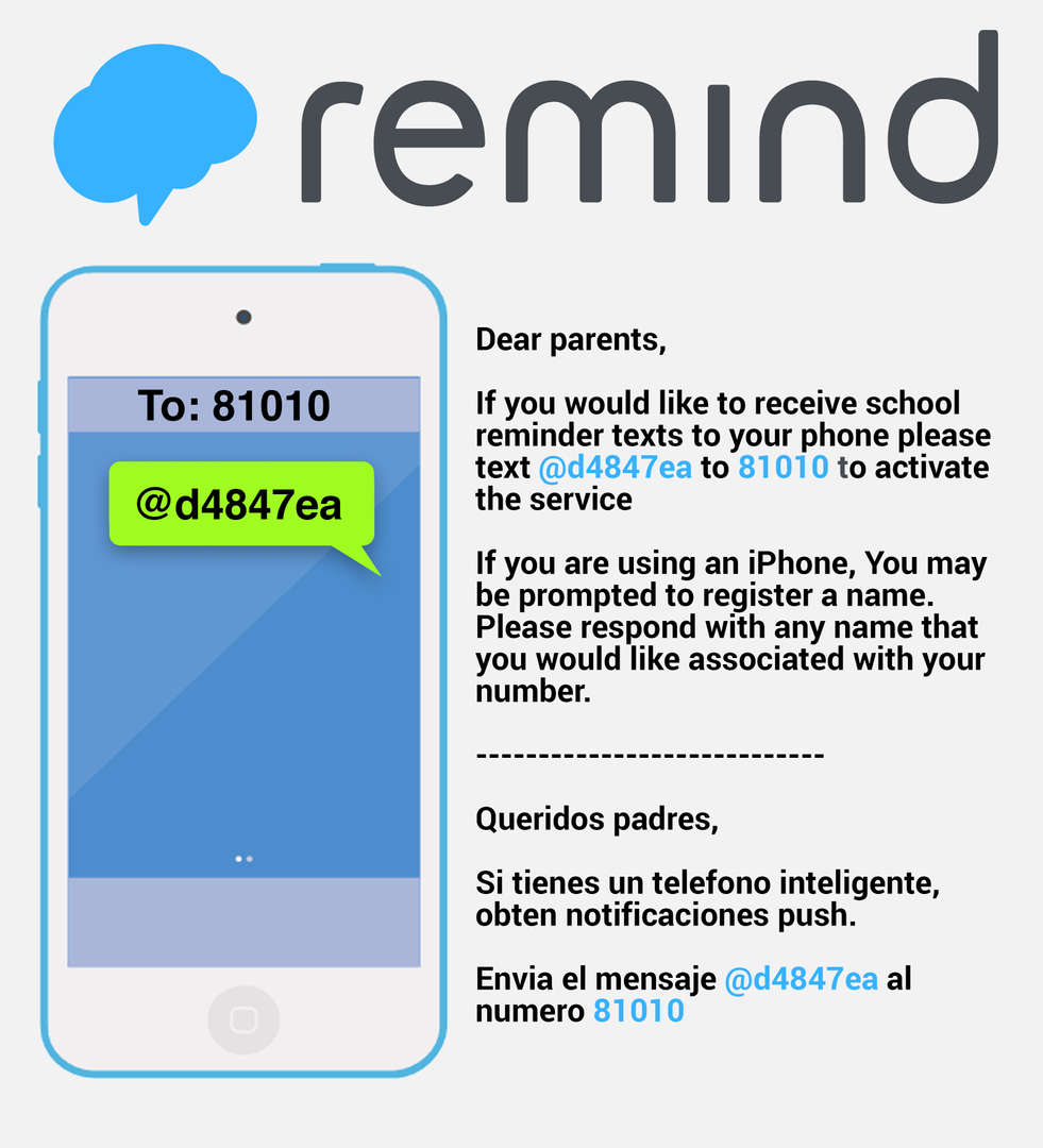 Get information for PS 253 right on your phone. Join us on Remind by texting @d4847ea to 81010
