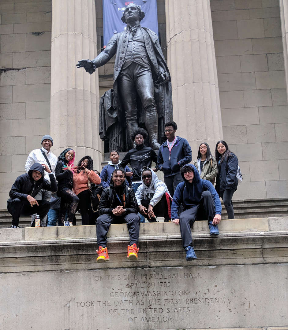 Students visiting Wall Street