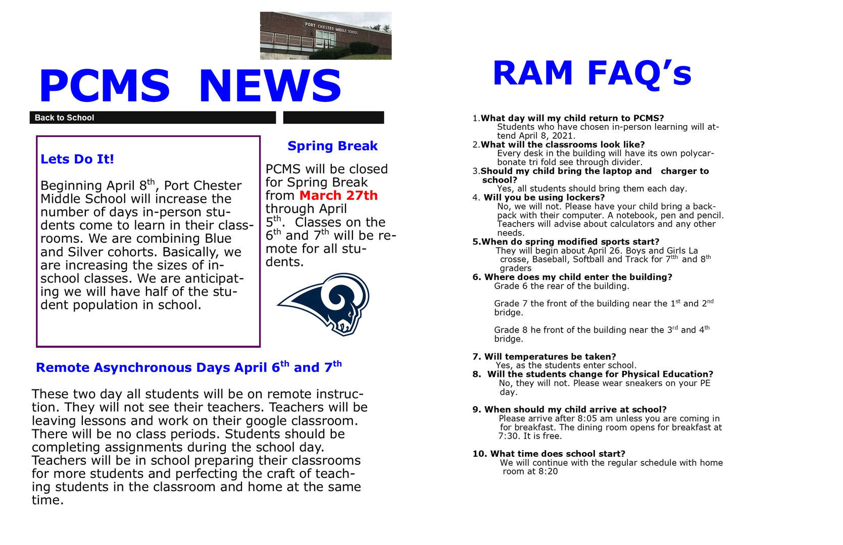 Flyer called PCMS News regarding school reopening for in-person on April 8, 2021