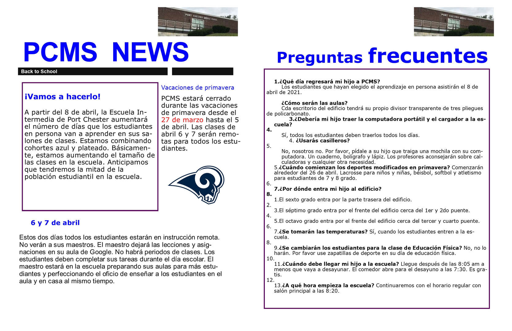 Flyer in Spanish called PCMS News, regarding in-person reopening on April 8, 2021