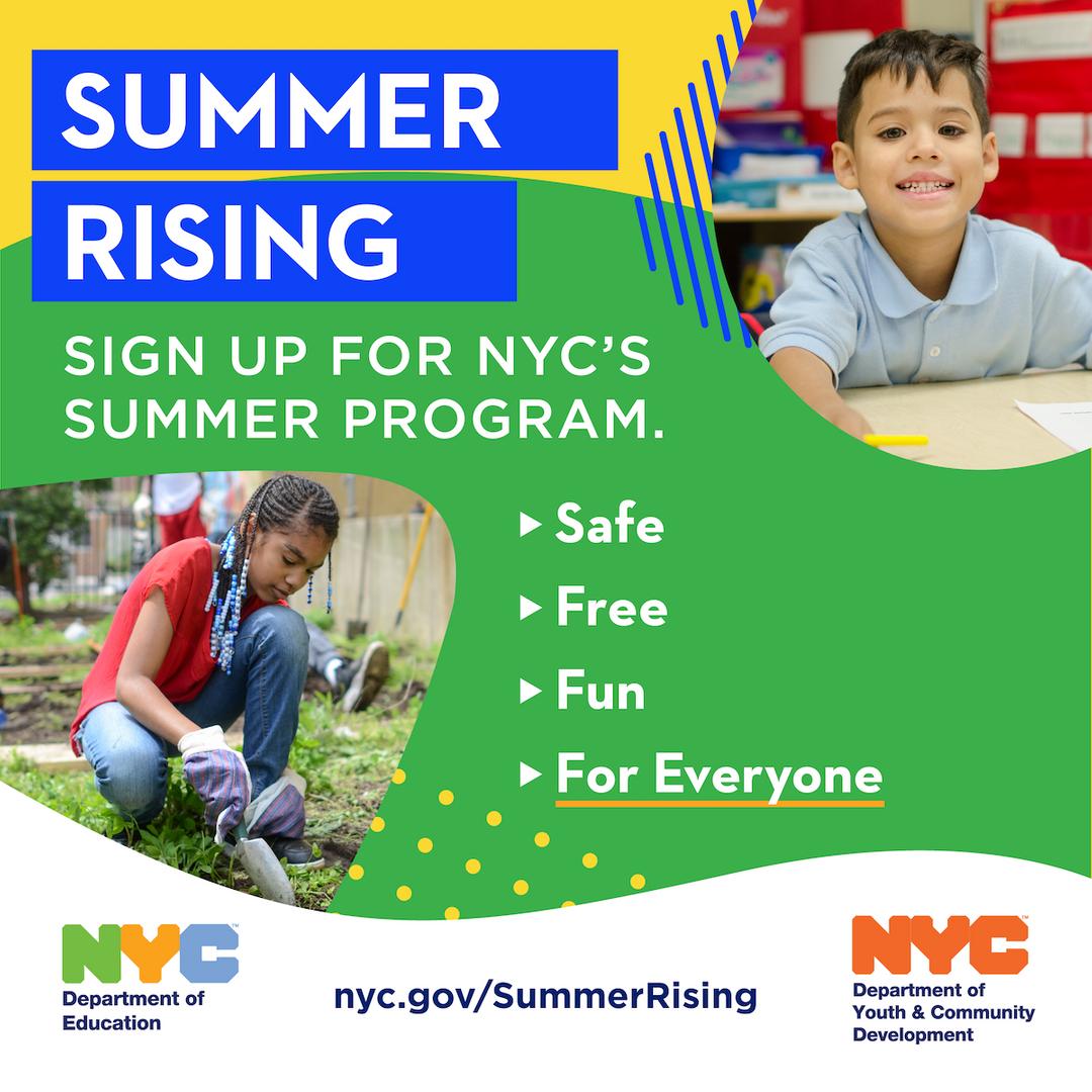 NYC's Summer Rising Summer Program Flyer in 1:1 Format
