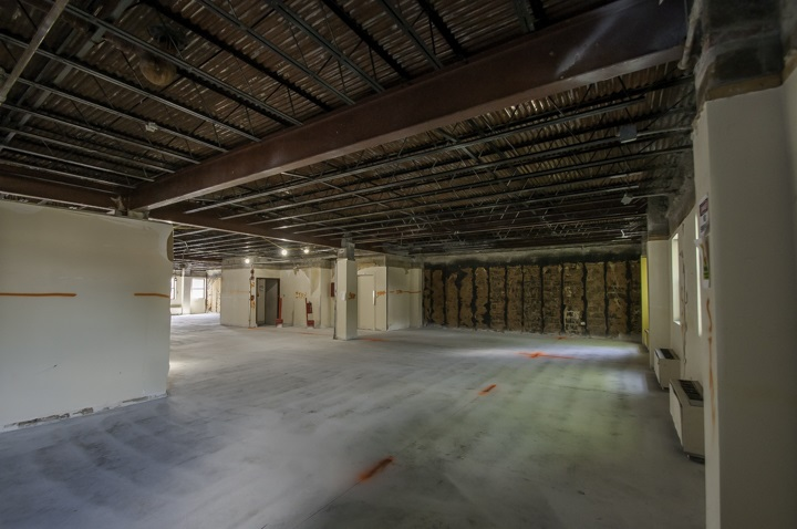 Interior administrative offices and complete wall demolition prepared for construction