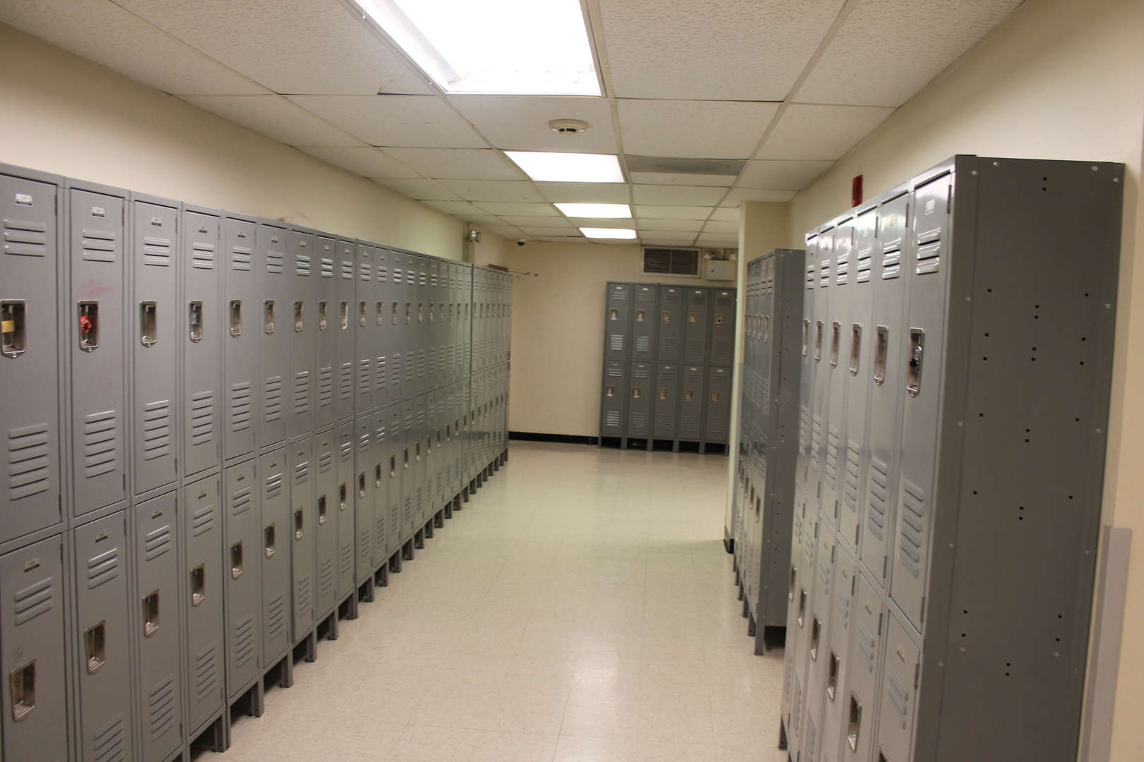 Lockers in a school hallway